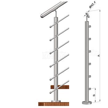 Schodišťový sloupek - horní kotvení, 6 prutů, EB1-VHS6-2