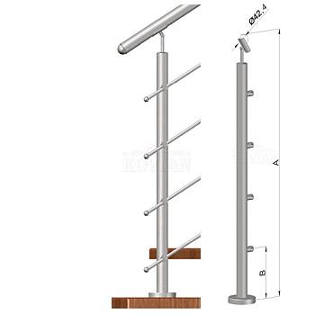 Schodišťový sloupek - horní kotvení, 4 pruty, EB1-VHS4-2