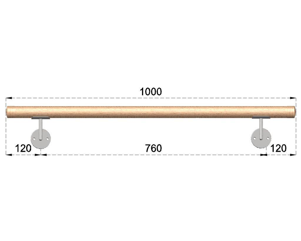 Dřevěné madlo s držáky na zeď 1m, EDB-M100-D