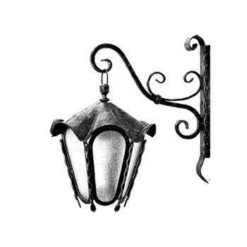 Nástěnná kovaná lucerna, LM007, černá
