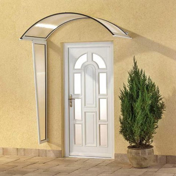 Vchodová stříška Robelit, oblouková 2500x750mm barva stříšky: bílý rám, čirá výplň