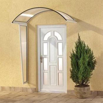 Vchodová stříška Robelit, oblouková 2500x900mm barva stříšky: bílý rám, čirá výplň