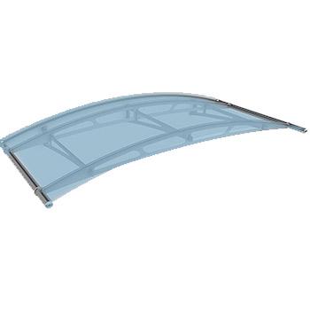 Fotografie Oblouková stříška Polymer, Lightline 1900x910mm barva saténově modrá