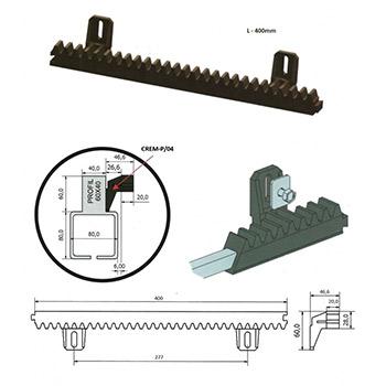 Hřeben nylonový Crem-P/04 30x20mm, 0,4m