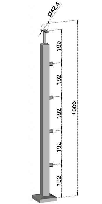 Podestový sloupek, hranatý - horní kotvení, 4 pruty, EB1-JVHS4-1
