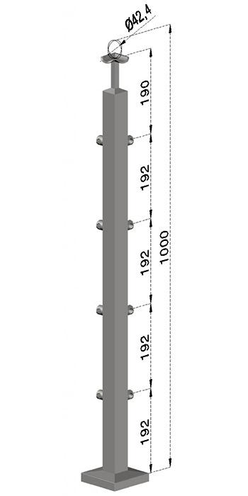 Rohový sloupek, hranatý - horní kotvení, 4 pruty, EB1-JVHU4-1