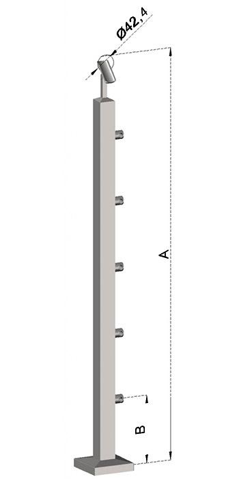 Schodišťový sloupek, hranatý- horní kotvení, 5 prutů, EB1-JVHS5-2