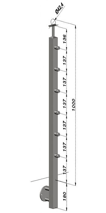 Podestový sloupek, hranatý - boční kotvení, 6 prutů, EB1-JBHP6-1