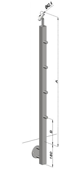 Schodišťový sloupek, hranatý - boční kotvení, 4 pruty, EB1-JBHP4-2