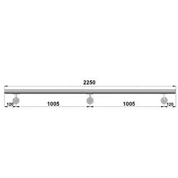 Nerezové madlo s držáky na zeď 2,25m, EB1-M225