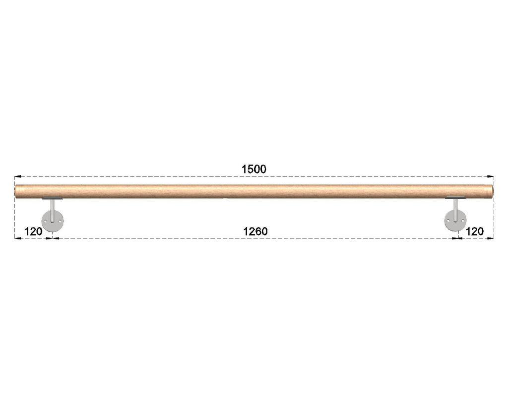 Dřevěné madlo s držáky na zeď 1,5m, EDB-M150-D