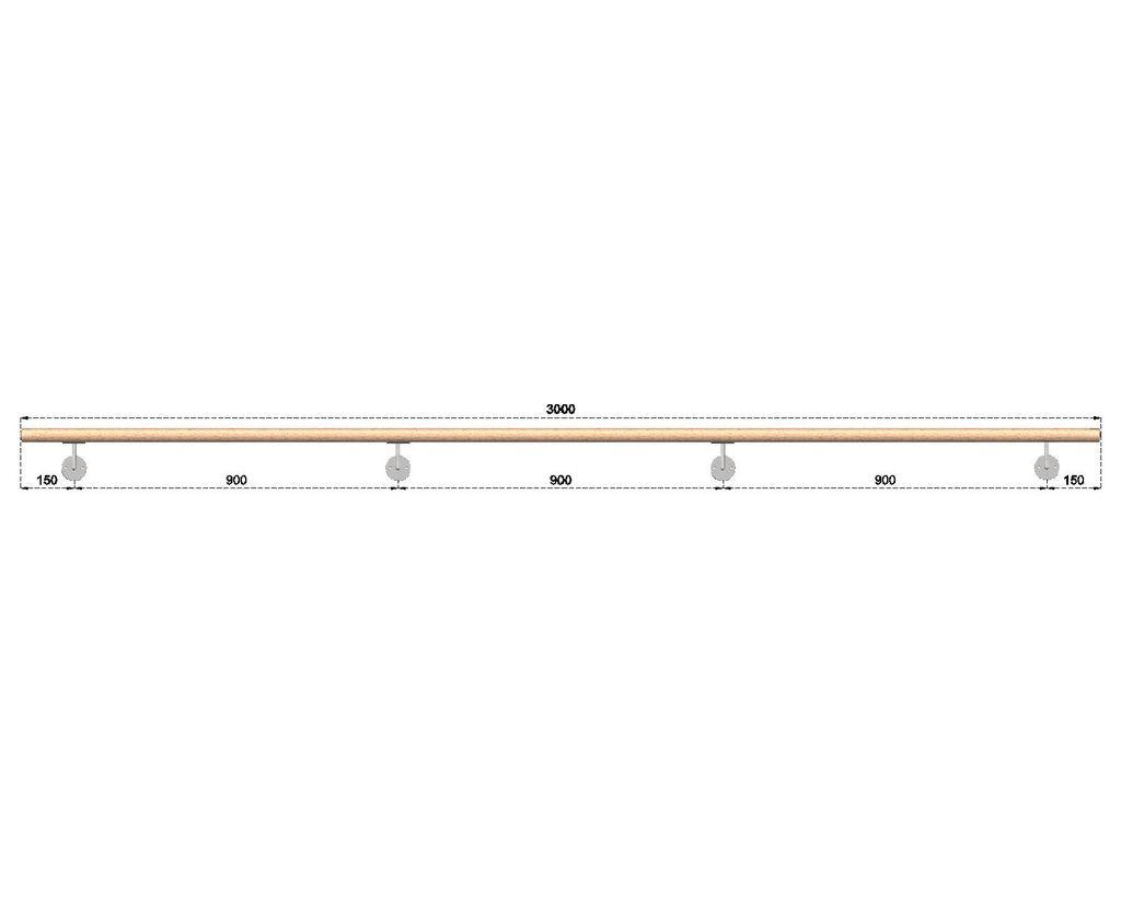 Dřevěné madlo s držáky na zeď 3m, EDB-M300-D