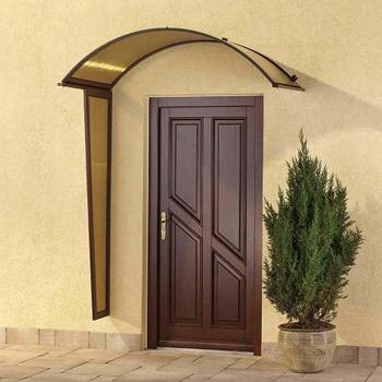 Vchodová stříška Robelit, oblouková 1580x750mm barva stříšky: hnědý rám, kouřová výplň
