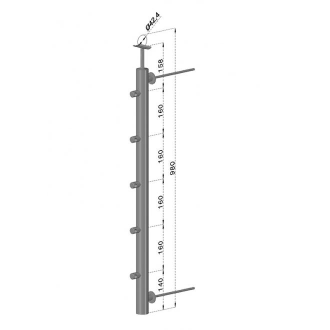 Francouzský balkón, nerezový sloupek, kulatý, pravý, EB1-FBH5-R