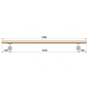 Dřevěné madlo s držáky na zeď 1,25m, EDB-M125-D