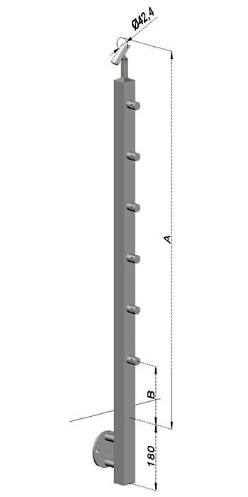 Schodišťový sloupek, hranatý - boční kotvení, 6 prutů, EB1-JBHP6-2