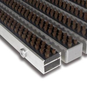 Hnědá hliníková čistící kartáčová venkovní vstupní rohož Alu Super - 100 x 100 x 2,7 cm