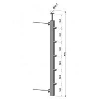 Francouzský balkón, nerezový sloupek, hranatý, průběžný, EB1-JFBH5