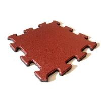 Protipádová pryžová dlažba Puzzle A, SBR, červená