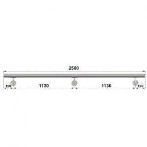 Nerezové madlo s držáky na zeď 2,5m, EB1-M250