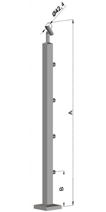 Schodišťový sloupek, hranatý - horní kotvení, 4 pruty, EB1-JVHS4-2