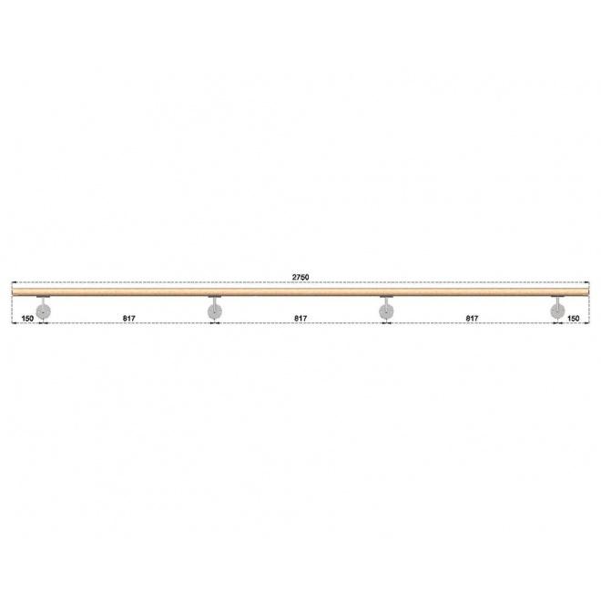 Dřevěné madlo s držáky na zeď 2,75m, EDB-M275-D
