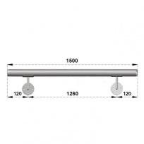 Nerezové madlo s držáky na zeď 1,5m, EB1-M150
