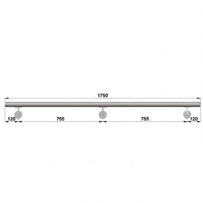 Nerezové madlo s držáky na zeď 1,75m, EB1-M175