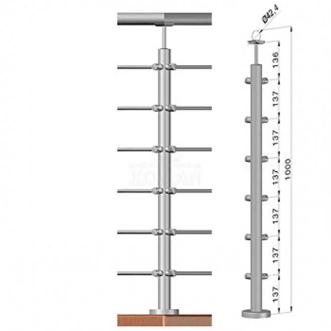 Rohový sloupek - horní kotvení, 6 prutů, EB1-VHU6-1