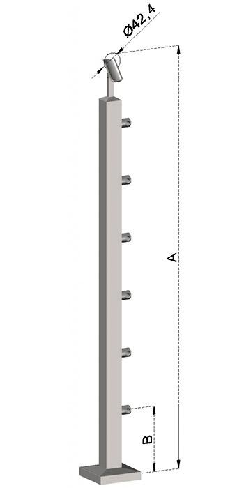 Schodišťový sloupek, hranatý - horní kotvení, 6 prutů, EB1-JVHS6-2