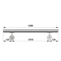 Nerezové madlo s držáky na zeď 1,25m, EB1-M125