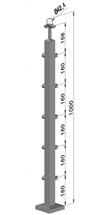 Rohový sloupek, hranatý - horní kotvení, 5 prutů, EB1-JVHU5-1