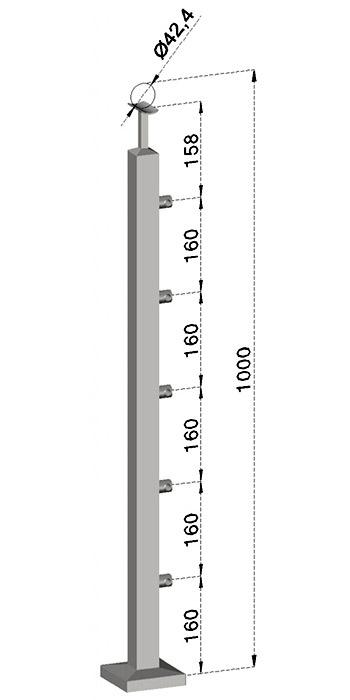 Podestový sloupek, hranatý - horní kotvení, 5 prutů, EB1-JVHS5-1