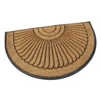 Gumová kokosová vstupní půlkruhová rohož Flower - 120 x 75 x 2,2 cm