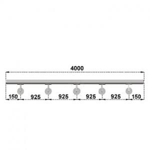 Nerezové madlo s držáky na zeď 4m, EB1-M400