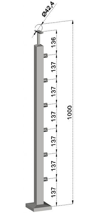 Podestový sloupek, hranatý - horní kotvení, 6 prutů, EB1-JVHS6-1