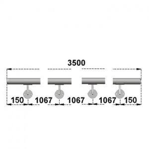 Nerezové madlo s držáky na zeď 3,5m, EB1-M350