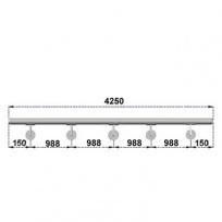 Nerezové madlo s držáky na zeď 4,25m, EB1-M425