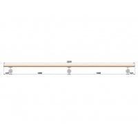 Dřevěné madlo s držáky na zeď 2,25m, EDB-M225-D