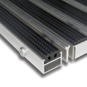 Hliníková gumová čistící vstupní venkovní kartáčová rohož Alu Extra - 100 x 100 x 2,7 cm