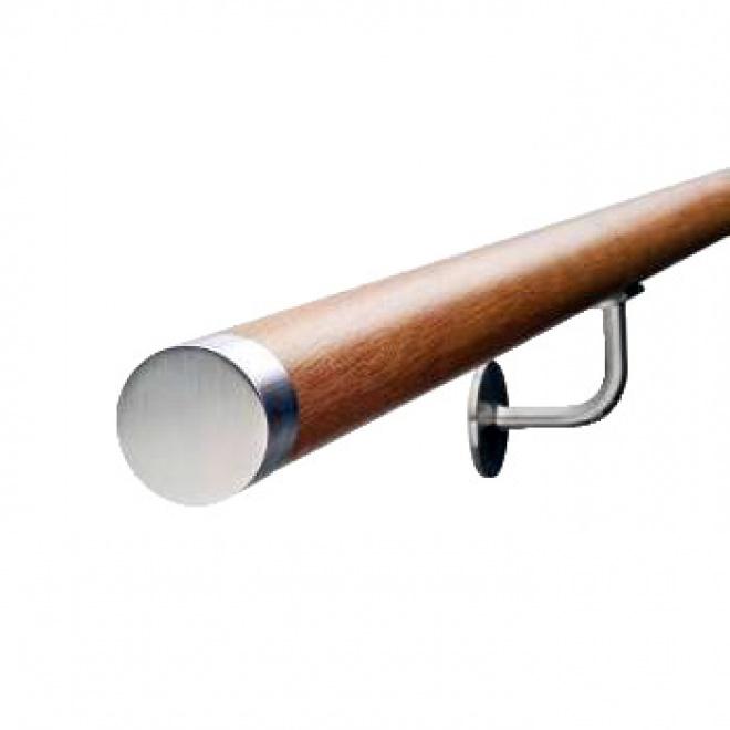 Dřevěné madlo s nerezovými koncovkami a držáky 1,5m, EDB-M150-N