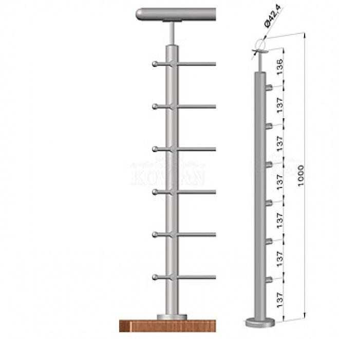 Podestový sloupek - horní kotvení, 6 prutů, EB1-VHS6-1