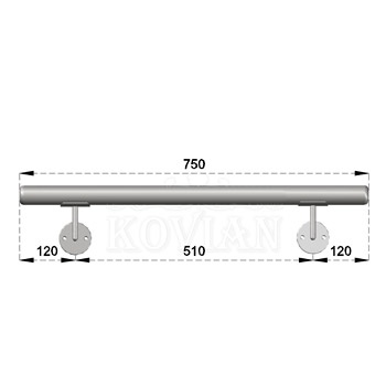 Nerezové madlo s držáky na zeď 0,75-1,5m