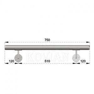 Nerezové madlo s držáky na zeď 0,75m, EB1-M075