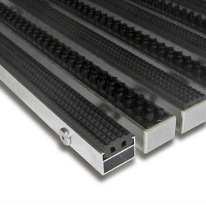Hliníková gumová čistící vstupní kartáčová venkovní rohož Alu Extra - 100 x 100 x 1,7 cm