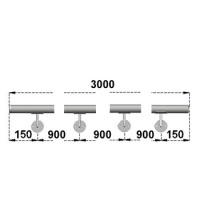 Nerezové madlo s držáky na zeď 3m, EB1-M300