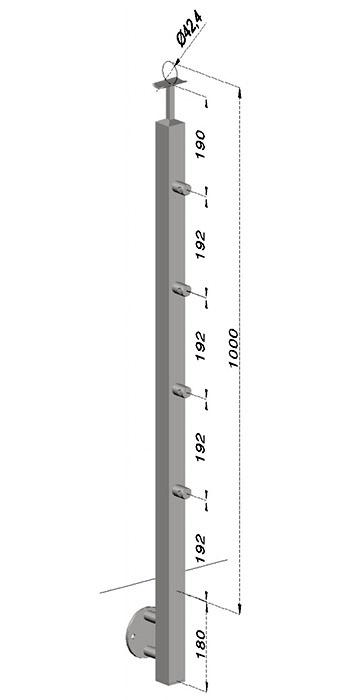 Podestový sloupek, hranatý - boční kotvení, 4 pruty, EB1-JBHP4-1