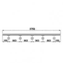 Nerezové madlo s držáky na zeď 3,75m, EB1-M375