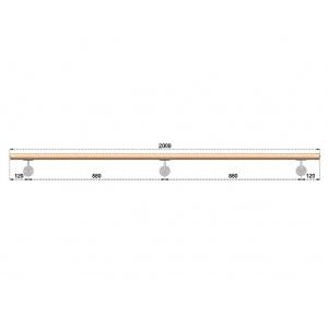 Dřevěné madlo s držáky na zeď 2m, EDB-M200-D