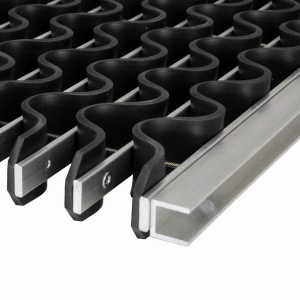 Hliníková gumová čistící venkovní vstupní rohož Alu Wave - 100 x 100 x 1,8 cm